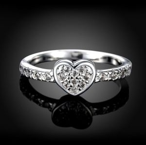 Pretty Pave Sterling Silver Heart Fashion Ring